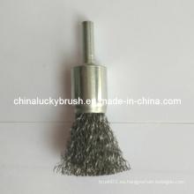 """Cepillo final de alambre de acero de 3/4 """"con vástago de 1/4"""" (YY-389)"""
