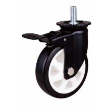 Med-Heavy Duty Stem Tipo de travão Rolamento de bola dupla Rodízio de roda PU preto