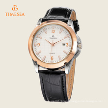 Luxury Rose Gold Men Date Watch Black Leather Strap