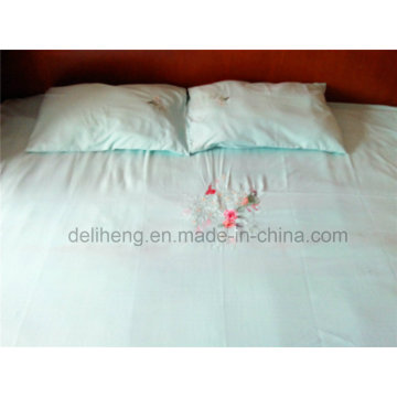 100% Microfiber Polyester 3PCS Plain Dyed Embroidery Bed Sheet Sets