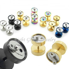 Titanium Anodized Gold 316L Steel Fake Gauges Soda Can Ear Plugs