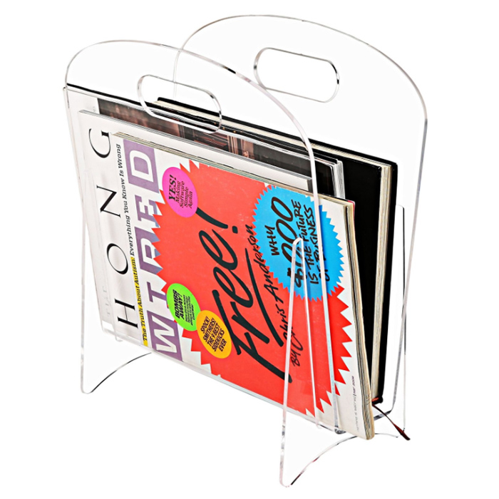 Free Standing Clear Acrylic Magazine Holder Modern
