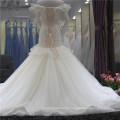 2018 Elegante V-cuello Lace Up sirena vestido de novia vestido de novia con cuentas pesadas