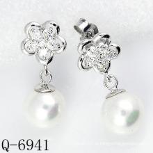 Neueste Styles Perlen Ohrringe 925 Silber (Q-6941)