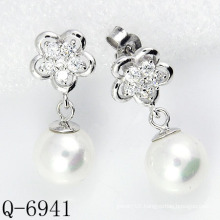 Latest Styles Pearl Earrings 925 Silver (Q-6941)