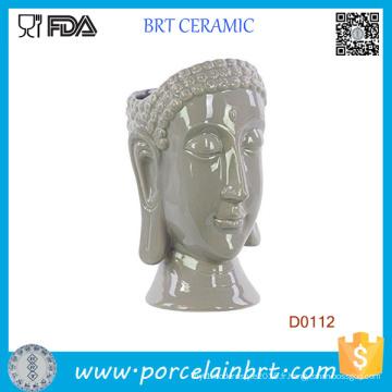 New Urban Trends Vase en céramique avec tête de Bouddha