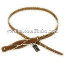 Woman's Narrow Braided Leather Belt