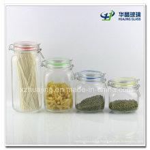 750ml 1000ml 1500ml 2000ml Airtight Glass Jar with Hinged Lid
