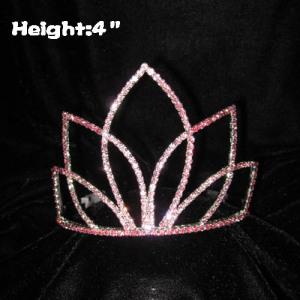 Coronas rosadas del concurso de diamantes de imitación en 4 pulgadas de altura