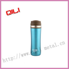 Double wall pink stainless steel bullet vacuum flask