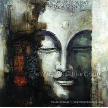 Peinture à l'huile à la main à Bouddhas sur toile pour décor mural (BU-021)