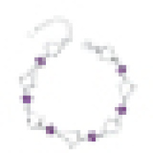 Women′s 925 Sterling Silver Purple Diamond Heart-Shaped Bracelet