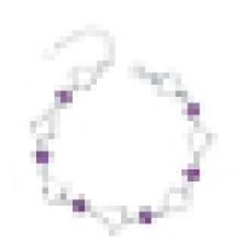 Женская стерлингового серебра 925 фиолетовый Алмаз в форме сердца Браслет