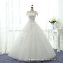 Sexy Puffy 2017 Romantique Robe De Mariage Vestido De Noiva Off The Shoulder Robe de mariée en dentelle blanche MW973
