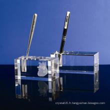 Artisanat simple de support de stylo de verre en cristal pour la décoration de bureau