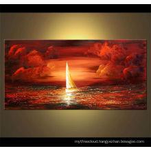 POP Sunset Handprinted Wholesale Oil Paintings,1.8cm Wood Frame