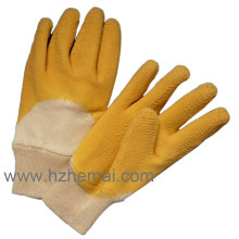 Cotton Coated Yellow Latex Heavy Duty Work Gloves