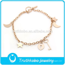 TKB-JB0015 Simple elegant stylish handmade jewelry rose gold 316L stainless steel friendship bracelets