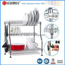 Patenteado ajustável cromo metal cozinha prato secagem rack, placa de rack
