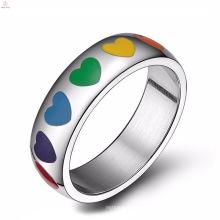 Diseña tus propios anillos de acero inoxidable con promesa gay de compromiso del orgullo gay