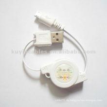 Einziehbares USB 2.0 Datenkabel USB Micro 5p für HTC Ladegerät Datenkabel
