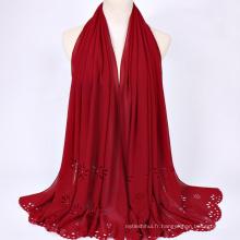 Mode tout-match polyester multi couleur écharpe en gros hijab malaisie musulmane écharpe hijab
