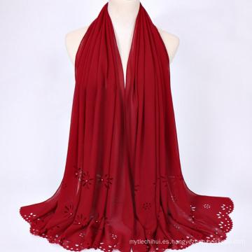 Moda todo fósforo poliéster multi color bufanda al por mayor hijab musulmán malasia bufanda hijab