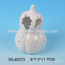 Venta al por mayor de calabaza de halloween de porcelana blanca led, decoración de cerámica de halloween