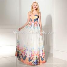 Mais recente projeto comprimento do assoalho vestido de noite impresso longo design atacado vestido de noite para o casamento e festa