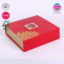 Caixa de papel de mooncake dobrável personalizada sem alça