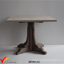 Farm Chic 4 Seaters Mesa de jantar quadrada de pedestal de madeira maciça
