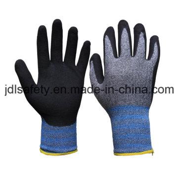 13 датчик нейлона и спандекса Рабочая перчатка с черным Сэнди Нитрил на ладони (N1613)
