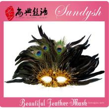 Increíble mascarada hecha a mano de plumas de pavo real fiesta de Halloween