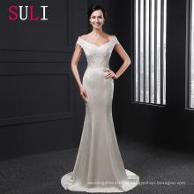 SL012 2016 с плеча с коротким рукавом sheer кружева Русалка свадебное платье