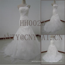 HH0023 one shoulder wedding dress organza ruffles skirt
