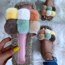 Fashionable Plush Warm Non-Slip Sandals Villus Fluffy Casual Flat Slippers