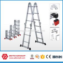 Escalera de aluminio 12 pasos 4x3, escalera plegable compacta, escalera plegable ligera