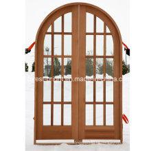 Puerta doble superior redonda con vidrio