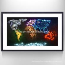 Mapa estirado Impresión de imágenes en lienzo Decoración para el hogar Mapa Lona de arte listo para colgar en la pared