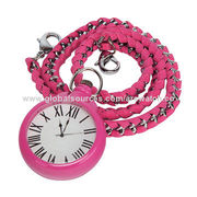 Fashion plastic pocket watch, long metal and leather chain, suitable for bag decoration