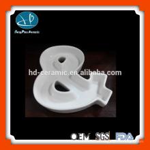 Prato de sobremesa de cerâmica branca pura, pratos, alfabeto de cerâmica, prato de caráter