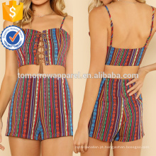Lace Up Cami Top & Shorts Fabricação Atacado Moda Feminina Vestuário (TA4005SS)