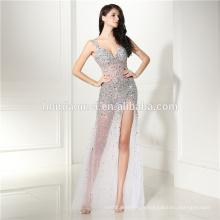 Blanc split transparent lady maxi appliqued matel sash dos nu manches robe de soirée femme fabricant de vêtements