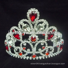 Newest design fashion red rhinestone heart wholesale wedding tiara