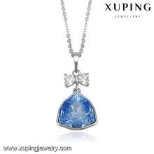43809-Accessoire de bijoux Cristaux Swarovski, collier avec saphirs bleus