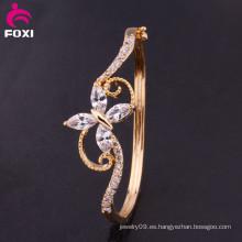 Zirconia oro plateado señoras pulsera de lujo brazalete de pun ¢ o