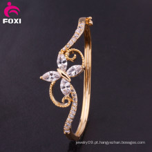 Zirconia banhado a ouro Ladies Fancy Bracelet Cuff Bangle