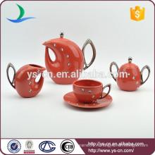 Домашний и гостиничный декоративный красный фарфоровый чайный сервиз