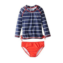Nautica Big Girls′ Rope Stripe Two-Piece Rashguard Swim Set