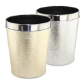 Stainless Steel Top Rim Leather Covered Waste Bin